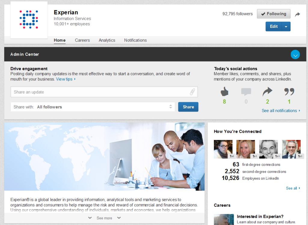 Experian's company page in LinkedIn, which was the hub of our content marketing efforts.