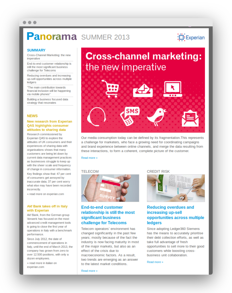 Experian Panorama newsletter